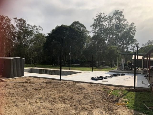 Another Pool Shade sail installation, this time in Logan, south of Brisbane. We set up 6 Point Reverse Hyper Sail with Black Powder Coated posts and Z-16 material in the colour Charcoal.