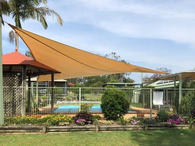 We replaced a Swimming Pool Shade at Greenbank, south of Brisbane with a 4 Point Shade Sail in Protex Parasol and a cable pocket. We used Sandstone colour and Tanara Marine Grade Thread with a 5mm stainless steel perimeter wire.