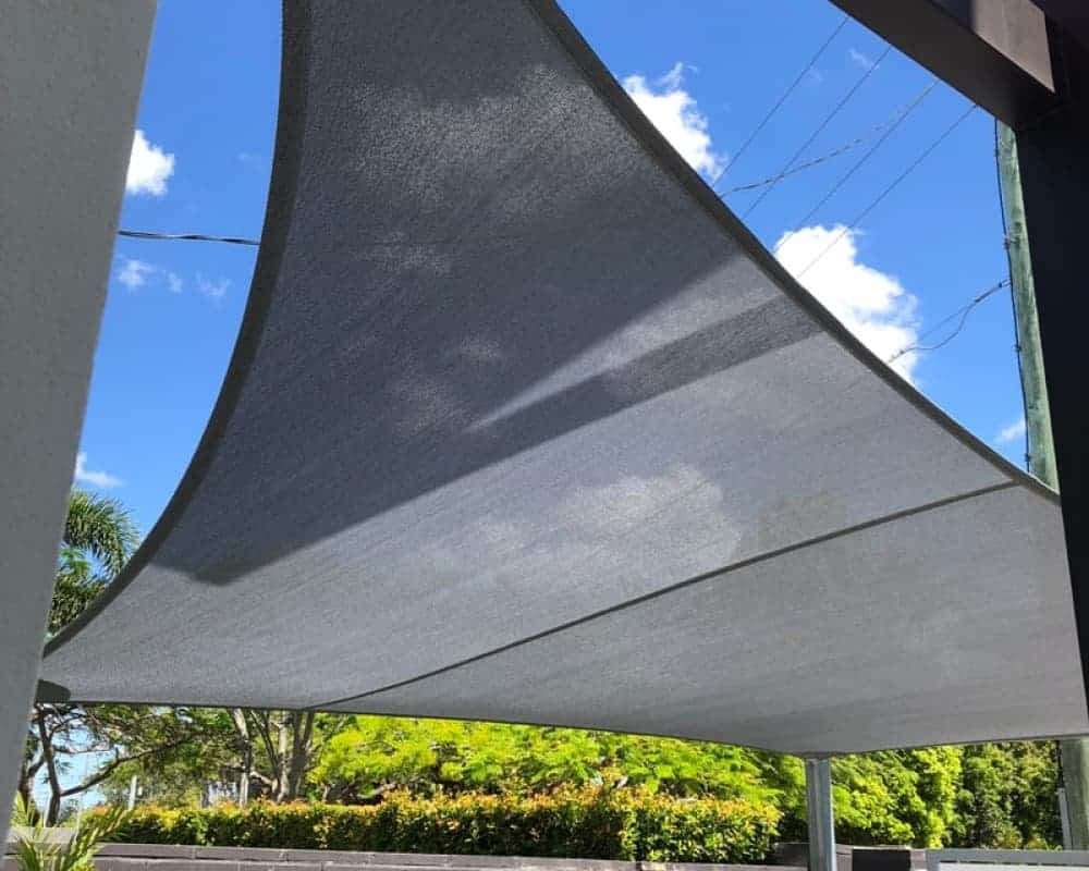 4 Point replacement shade sail in Z-16 Silver material. Tennyson
