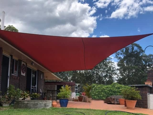Patio Shade Sail - Cashmere, Brisbane  Z-16 material in Red Earth colour installed by Superior Shade Sails Brisbane