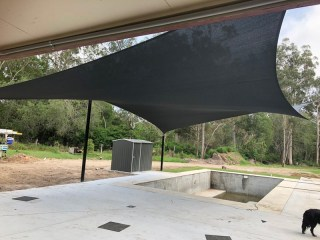 Swimming Pool Shade Sail installation - 6 Point Reverse Hyper Sail - Logan