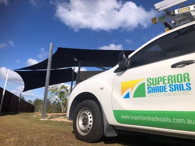 Brisbane shade sail installation at Forestdale. Using the Z-16 fabric we joined two shade sails together to provide a lot of shaded area.