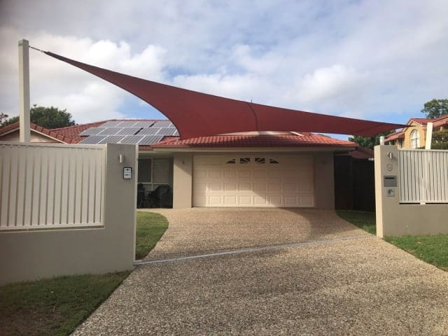 Carport Shade Sail installation by the Superior Shade Sail Team in Albany Creek.
