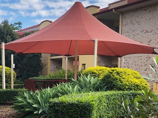 8 Point Shade Sail in Protex Parasol for the Tri-Care Aged Care complex at Upper Mount Gravatt, Brisbane