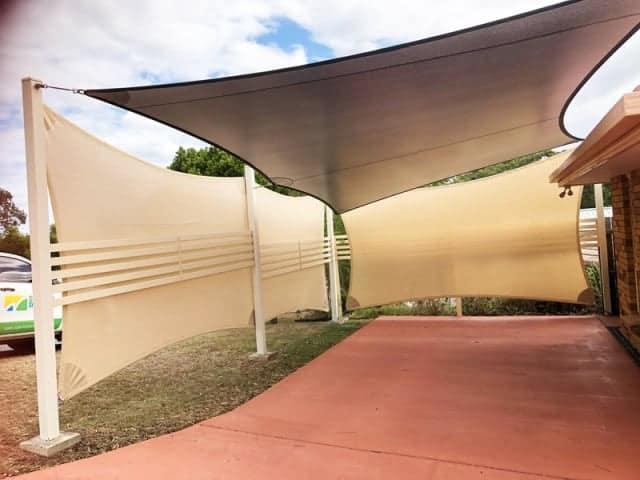 Carport Enclosure Shade Sails, using the DRI-Z waterproof fabric by Superior Shade Sails, Brisbane.