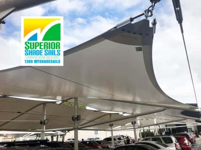Carpark Replacement Shade Sail - Loganholme Hyperdome 11 Point Shade Sail by Superior Shade Sails, Brisbane