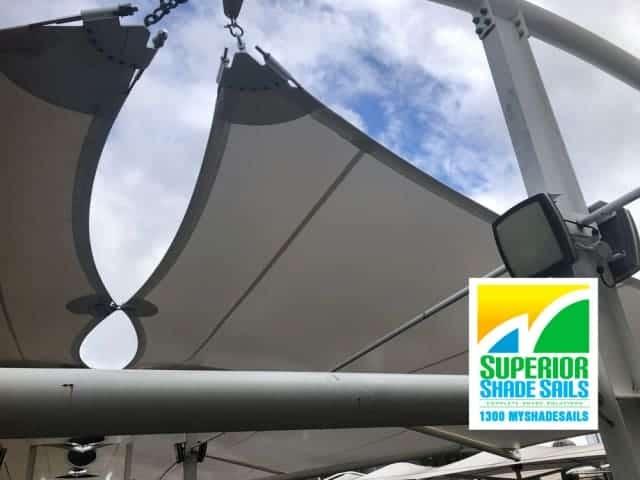 Carpark Replacement Shade Sail - Loganholme Hyperdome 11 Point Shade Sail by Superior Shade Sails, Brisbane