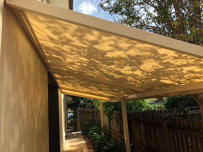 Replacement Shade Sail for a home in Graceville, Brisbane. We set up the 4 sided sail track using Rainbow Shade Z-16 material which looks great!