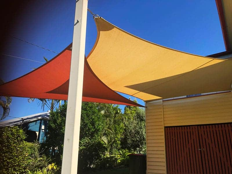 Twin Carport Overlapping Shade Sails - Z-16 Rainbow Shade.