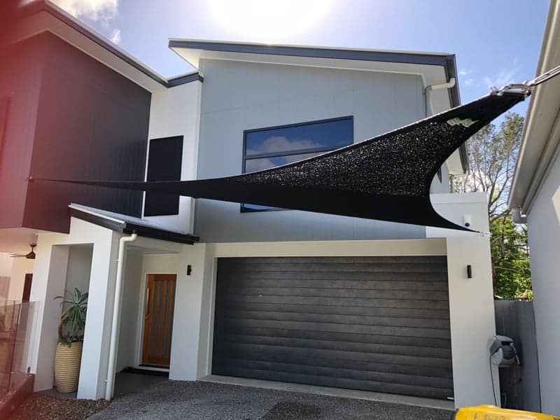 4 Point Driveway Shade Sail for this modern home in Westlake, Brisbane by Superior Shade Sails, Brisbane