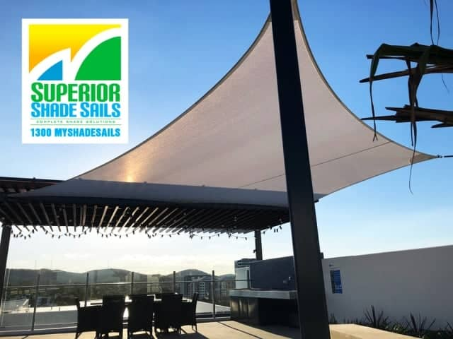 Shade Sail for the roof top and pool area of this luxury apartment building in West End, Brisbane - Rainbow Z-16 cloth fabric.