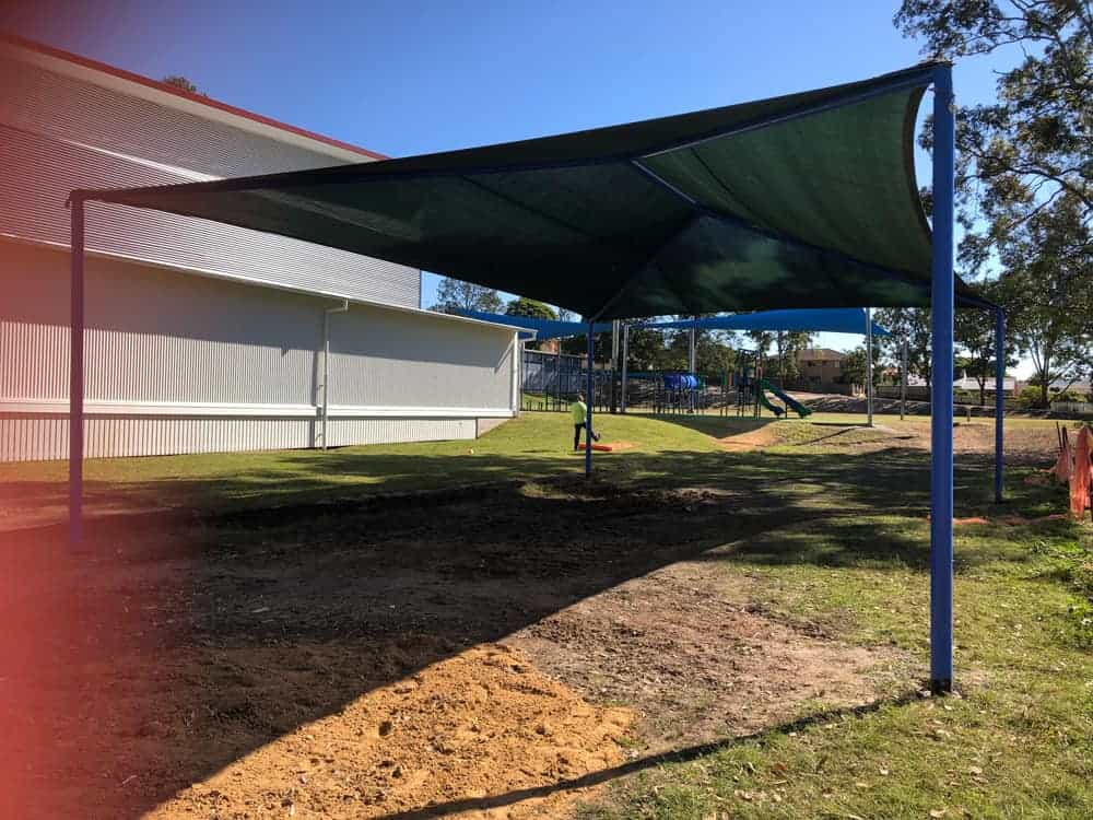 Playground Shade Sail installation at Mansfield State School by Superior Shade Sails