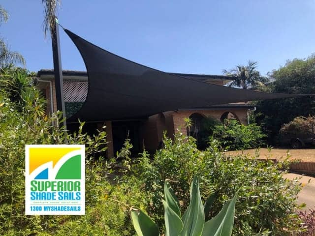 Carport Shade Sail installed in Z16 Rainbow Shade Fabric in Sunnybank Hills by Superior Shade Sails, Brisbane.