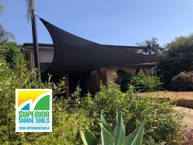 Carport Shade Sail installed in Z16 Rainbow Shade Fabric in Sunnybank Hills by Superior Shade Sails, Brisbane.