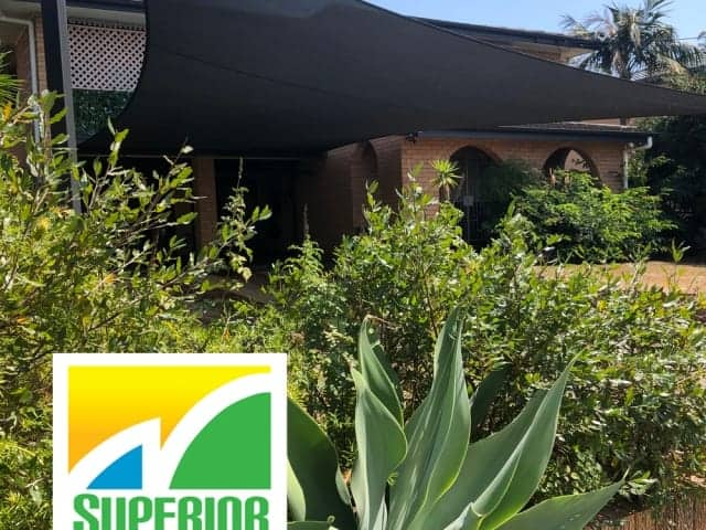 Carport Shade Sail installed in Z16 Rainbow Shade Fabric at this home in Sunnybank Hills by Superior Shade Sails.
