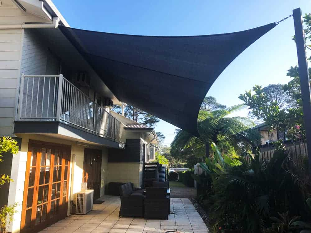 Patio Shade Sail installed on a Sail Track in Wynnum by Superior Shade Sails, Brisbane