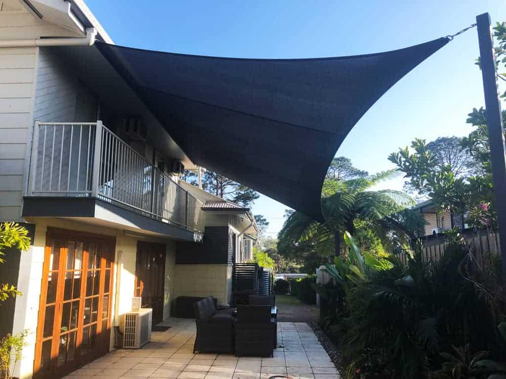 Patio Shade Sail installed on a Sail Track in Wynnum by Superior Shade Sails, Brisbane