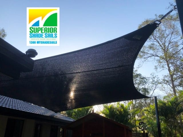 Shade Sail for the play area in this beautiful Bali Style garden in Karalee, Ipswich by Superior Shade Sails