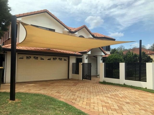 Carport Shade Sail using 3 x 316 Marine grade Stainless Steel roof brackets