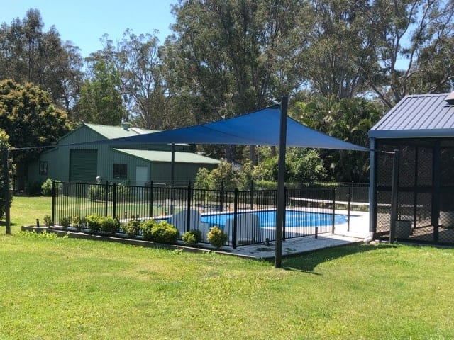 Pool Shade Sail Z16 Navy Blue installed by Superior Shade Sails Brisbane.