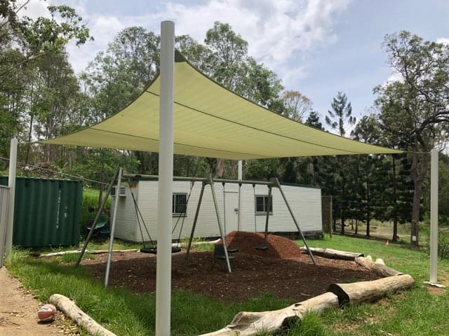 Playground shade sail for the swings at Brisbane Independent School by Superior Shade Sails, Brisbane