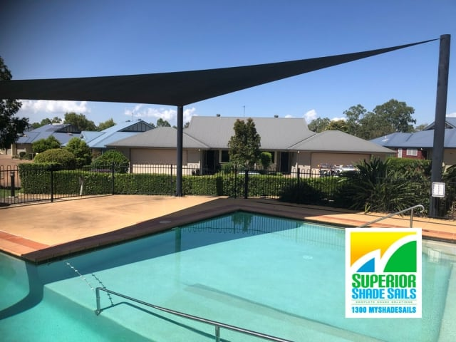 Replacement Pool Shade Sail installed at East Ipswich with a 3 point  shade sail by Superior Shade Sails Brisbane