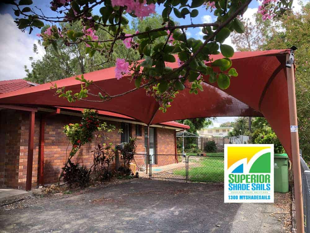 Replacement Shade Sail for the hip and ridge shade structure installed at Superior Shade Sails, Brisbane