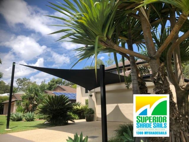 Carport Shade Sail in black installed at Seventeen Mile Rocks by  Superior Shade Sails, Brisbane