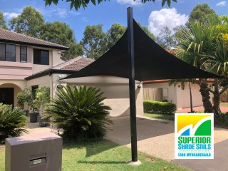 Carport Shade Sail in black installed at Seventeen Mile Rocks by Superior Shade Sails, Brisbane