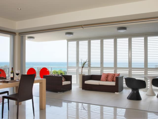 Indoor Shutters for the home and apartment living to provide air, light and security available from Superior Shade Sails Brisbane