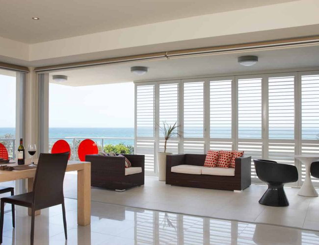 Indoor Aluminium Shutters for your home or apartment for privacy, security and airflow - Superior Shade Sails, Brisbane