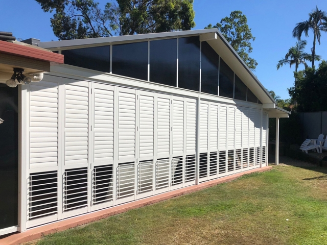 Aluminium Shutters for the patio in your home and apartment living to provide air, light and security available from Superior Shade Sails Brisbane
