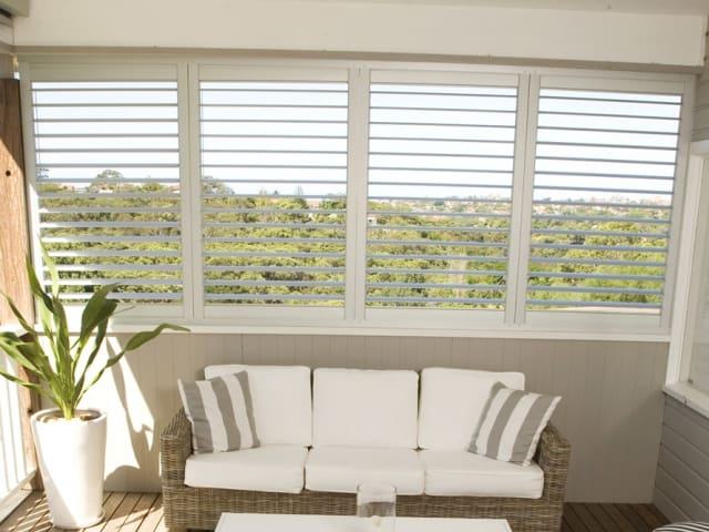 Indoor Shutters for the patio in your home and apartment living to provide air, light and security available from Superior Shade Sails Brisbane