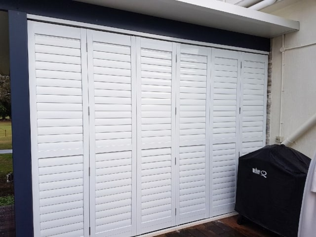Polymer Bifold Shutter Installation in Brisbane available from Superior Shade Sails.