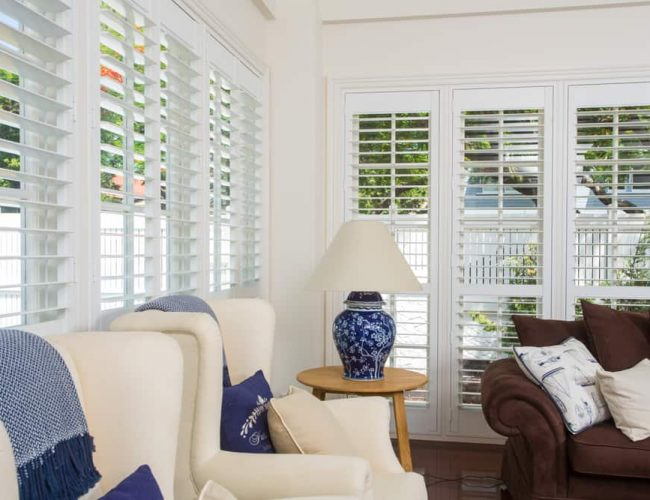 Polymer Window Shutters for this lovely lounge room. Available from Superior Shade Sails, Brisbane.
