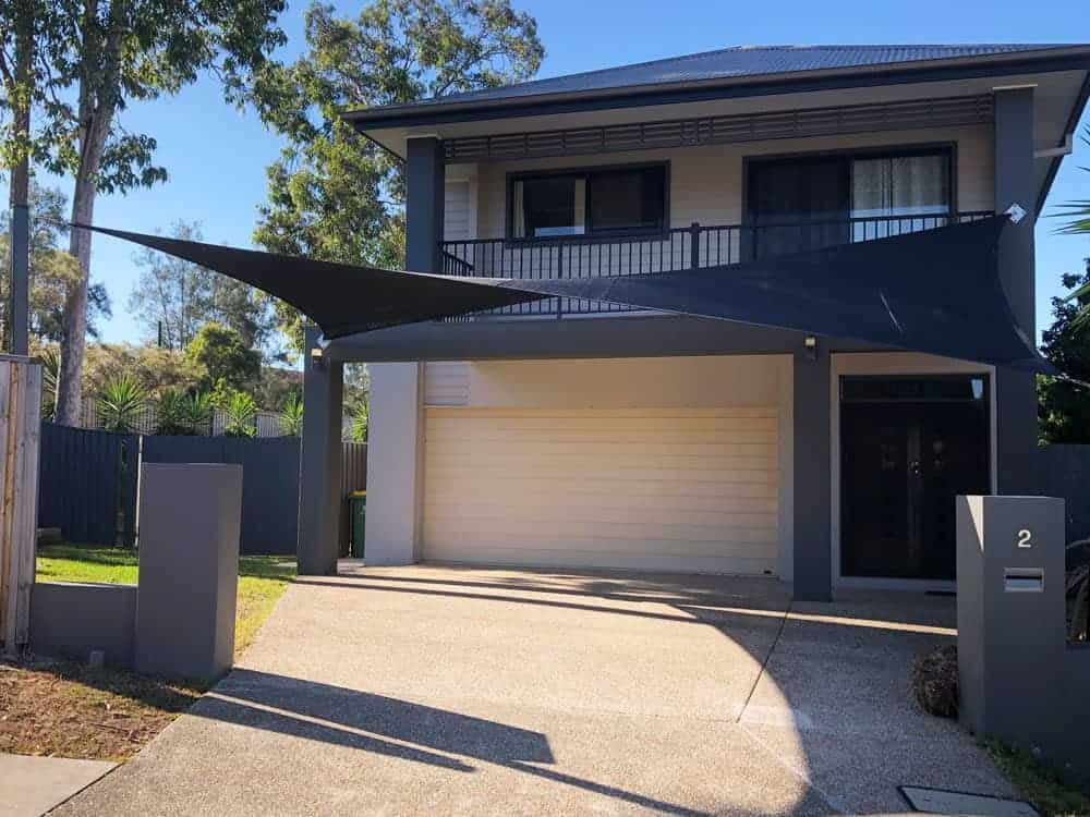 4 Point Hyperbolic Shade Sail Springfield Lakes installed by Superior Shade Sails in Black Rainbow Z16 Fabric