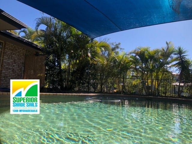 Pool Shade Sail, McKenzie - We install where ever sun shade protection and privacy is needed. Driveways, Patios, Decks, Gardens, Spas, Children's Play Areas and of course we do sails for your 4 legged friend