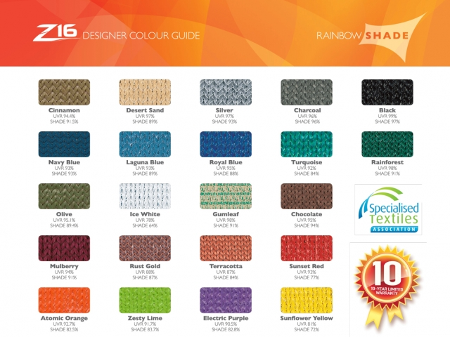 Rainbow Z-16 Designer Colour Guide - Superior Shade Sails, Brisbane