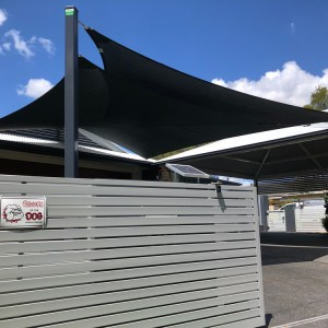 Twin Overlapping Shade Sails in Z-16 Shade Fabric in Parkinson