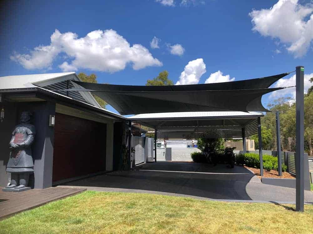 Twin Overlapping Shade Sails in Z-16 Shade Fabric in Parkinson installed by Superior Shade Sails Brisbane