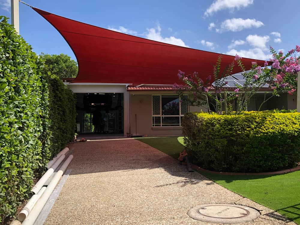 4 point Carport Shade Sail we installed is certainly a welcome addition with our very hot Queensland summer days and hailstorms about. We used the durable Z-16 shade fabric once again and this time in the Red Earth colour. We think it looks great.👌