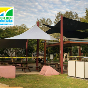 USQ Springfield Lakes - Storm Damage Replacement Shade Sails installed by Superior Shade Sails